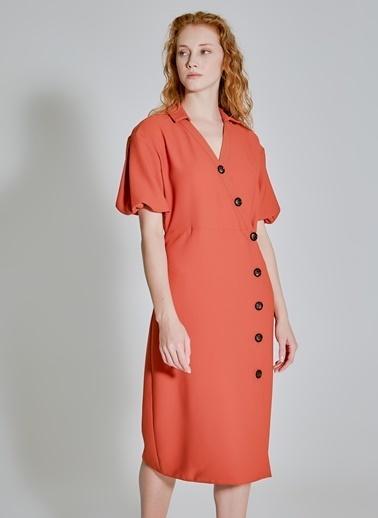 People By Fabrika Düğme Detaylı Elbise Kiremit